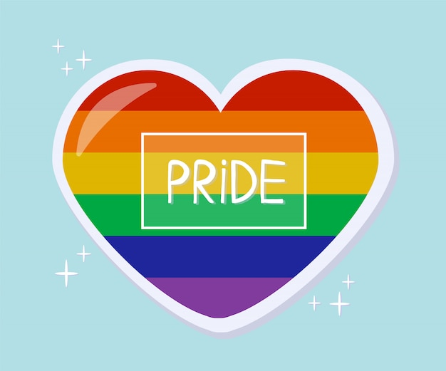 Pride heart sticker. lgbt pride month in june.