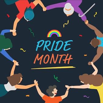 Баннер месяца гордости с представителями лгбтк, держащими друг друга за руки в кругу, чтобы показать свой дизайн гордости