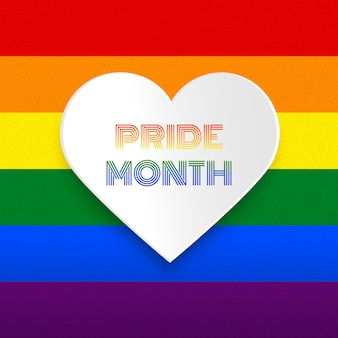 Pride month heart vector illustration on rainbow background