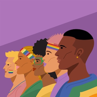 Pride month. portrait of young lgbtq people. vector illustration