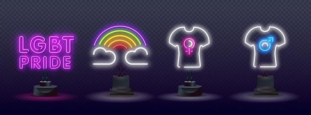 Шаблон оформления неонового текста гордости. элемент дизайна светового баннера лгбт