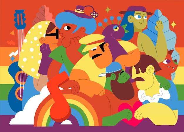 프라이드 퍼레이드, 프라이드 퍼레이드에서 행진하는 군중. 레즈비언, 게이, 양성애자, 트랜스젠더 커뮤니티의 구성원. 다양한 사람들을 포함하는 추세, 낙서의 벡터 일러스트