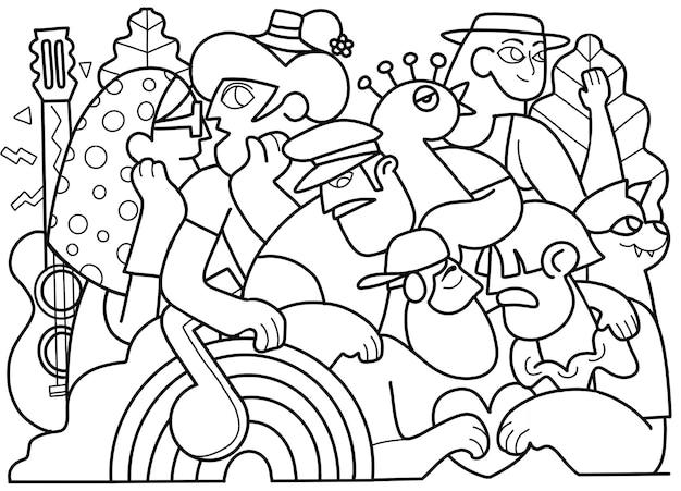 프라이드 퍼레이드, 프라이드 퍼레이드에서 행진하는 군중. 레즈비언, 게이, 양성애자, 트랜스젠더 커뮤니티의 구성원. 색칠하기 책의 디자인을 위해 낙서의 벡터 일러스트