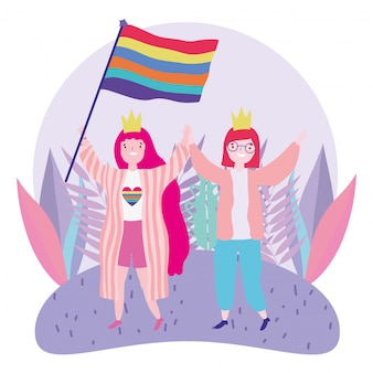 Pride parade lgbt community, celebrating two women with crown and flag rainbow