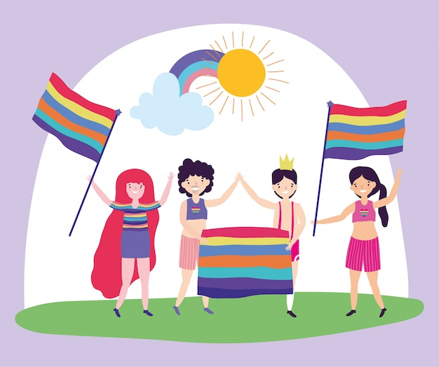 Pride parade lgbt community, group men and women happy with rainbow flags