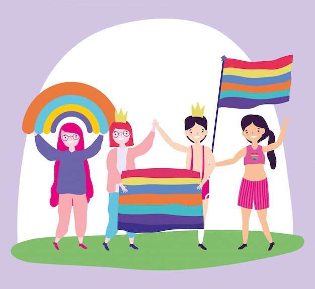 Pride parade lgbt community, people with flags homosexual proud cartoon