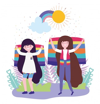 プライドパレードlgbtコミュニティ、旗の多様性の自由を持つ女性