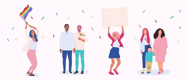 Парад гордости. векторный мультфильм люди сообщества лгбт.