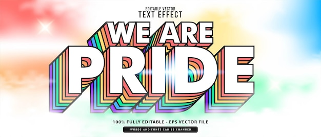 Pride, премиум-векторный редактируемый современный 3d-эффект радуги, симпатичный светящийся мультяшный текстовый эффект, идеально подходящий для плаката, всей печатной продукции или названий игр.
