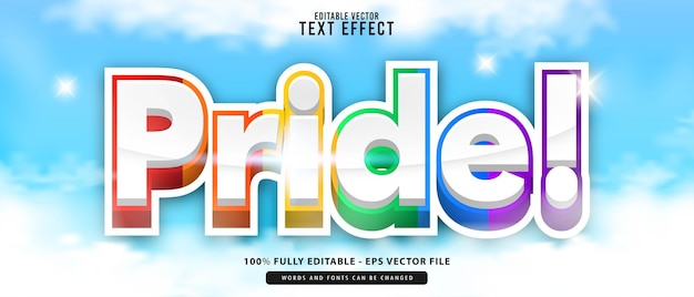Pride, premium vector editable modern 3d rainbow cute glowing cartoon style text effect, perfect for poster, all print products or game titles.