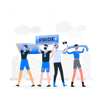 Pride protest wearing face masks concept illustration