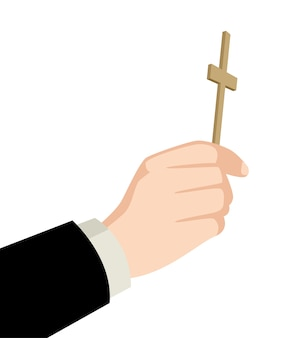 Priest hand holding holy cross
