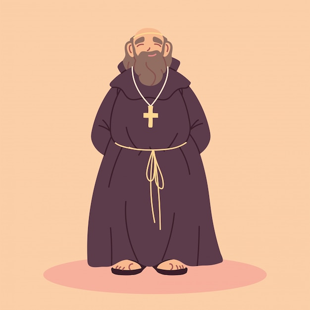 Priest or monk wearing brown hooded gown
