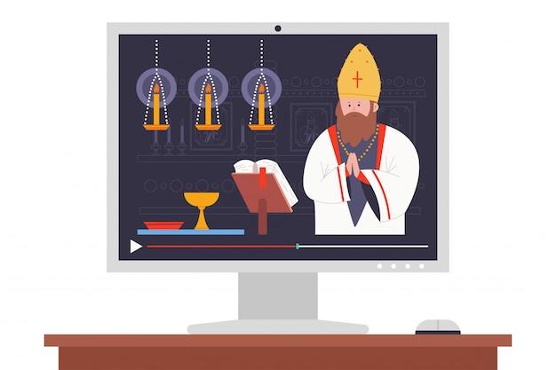 Priest preaching in the church online   cartoon illustration.