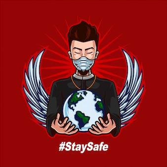 司祭がマスクを着用し、人間の戦いをサポートするために世界を開催