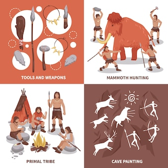 Primal tribe people concept icons set
