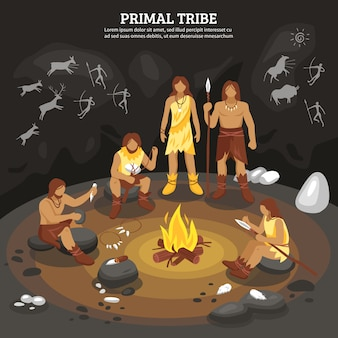 Primal tribe people illustration