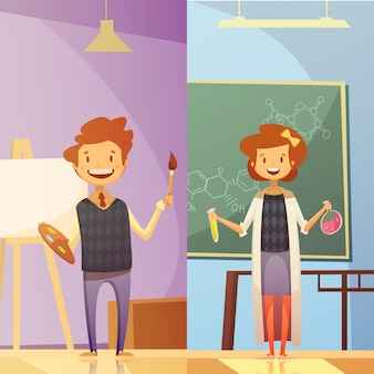 Классы начальной и средней школы с улыбающимися детьми 2 вертикальных баннера в мультяшном стиле