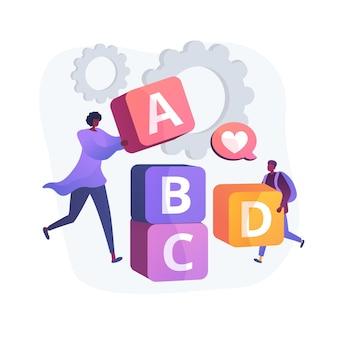 초등학교 교육. 게임 개발, 재미있는 공부, 초등학교. abc 블록을 가지고 노는 작은 남학생 및 교육자.
