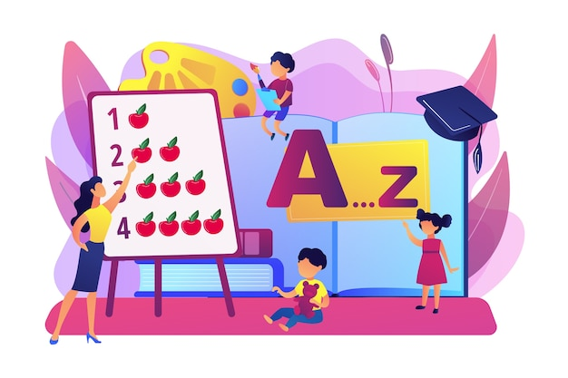 小学校。算数とアルファベットを勉強している小学生。幼児教育、幼児教育プログラム、幼児教育センターのコンセプト。明るく鮮やかな紫の孤立したイラスト