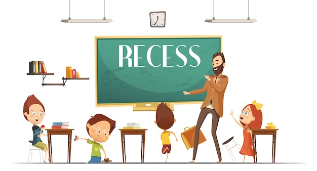 Primary school teacher announcing lunch and recess break time for children to eat retro cartoon vect