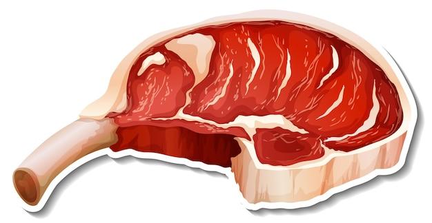 Прайм ребро сырое мясо наклейка на белом фоне
