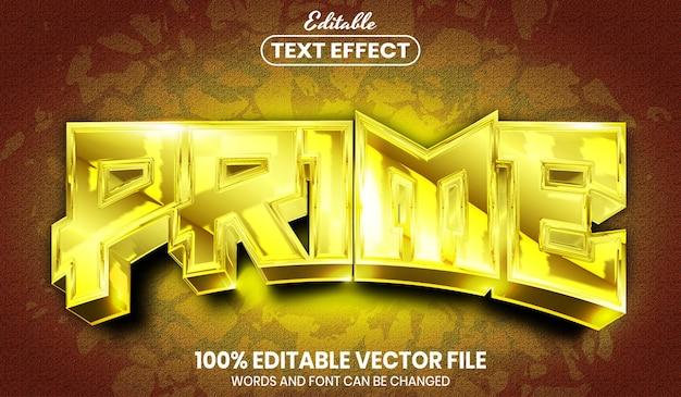 プライムテキスト、フォントスタイルの編集可能なテキスト効果