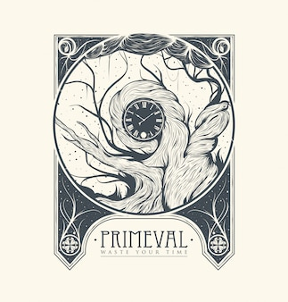 Primeval illustration in vintage style.