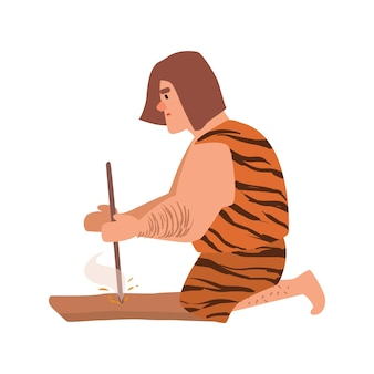 Primitive archaic man or caveman dressed in skin clothes lighting fire through friction by grinding piece of wood or hand drilling. cartoon character isolated on white background. vector illustration