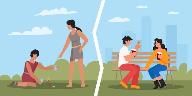 原始人の穴居人の穴居人の現代人が都市公園の女の子と男のデートでデート