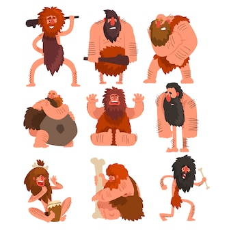 Primitive cavemen set, stone age prehistoric man cartoon character  illustrations