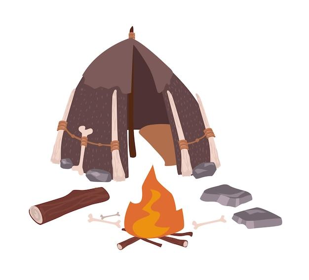 白で隔離された原始人の原始人または古風な先史時代の住居と焚き火