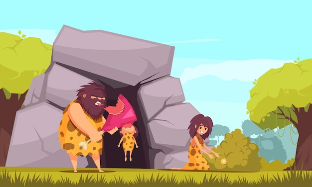 Primitive man cartoon with caveman family dressed in animal pelts eating meat near their cave
