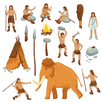 Primitive people flat cartoon icons set