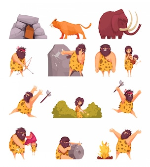 Primitive people in stone age cartoon icons set with cavemen pelt with weapon and ancient animals isolated
