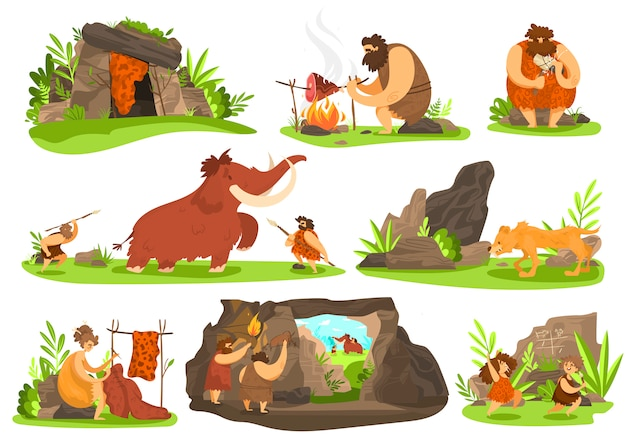 Primitive people in stone age, caveman life, vector illustration