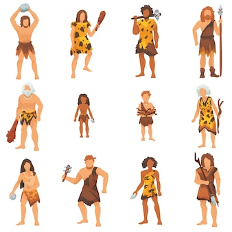 Primitive people vector primeval neanderthal cartoon character and ancient caveman in stone age cave