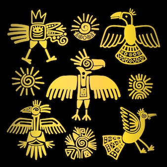 Primitive tribal golden birds icons