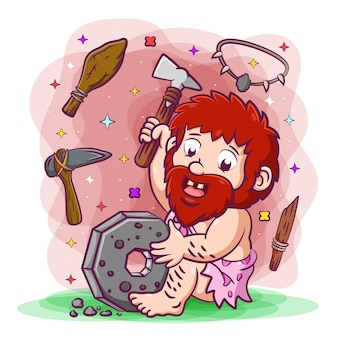 Primordial man holding the axe made from the stone and wood