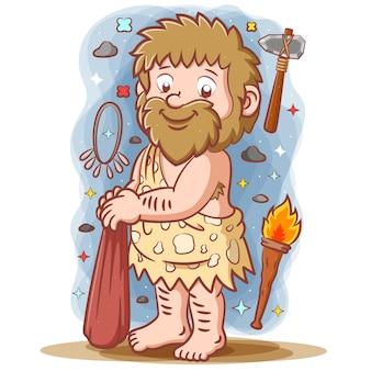 長い髪と大きな石のポーズをとる原始人
