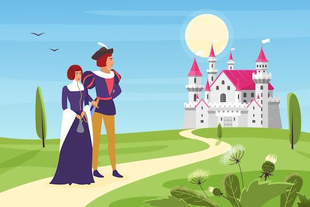 Принц и счастливая принцесса идут по дороге к королевскому замку через зеленые поля и луга