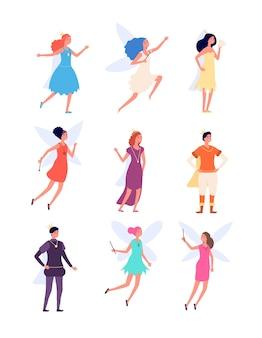 王子と王女。王室の中世の人、王と女王の衣装。妖精のキャラクター、ファンタジーの妖精と君主制の男の子と女の子のベクトルセット。翼を持つプリンセスファンタジー、王室の漫画イラスト