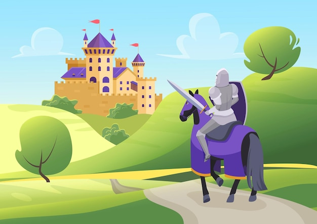 Prince knight rides horse to medieval castle fairy tale scenery with hero in armor