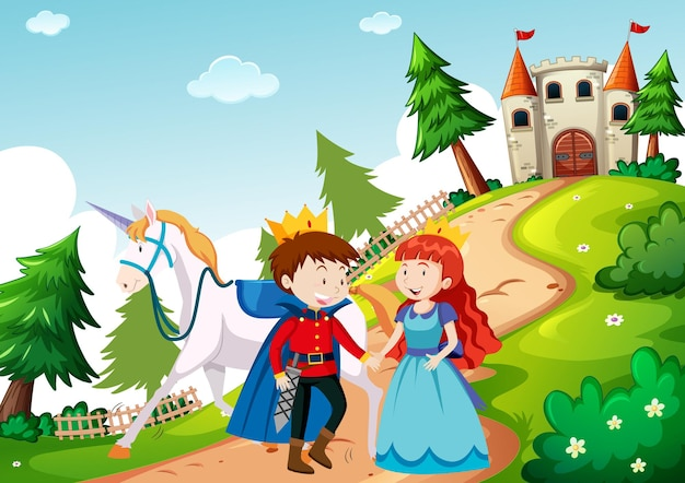 Prince and princess in fairytale land scene