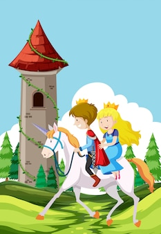 Prince and princess riding a horse