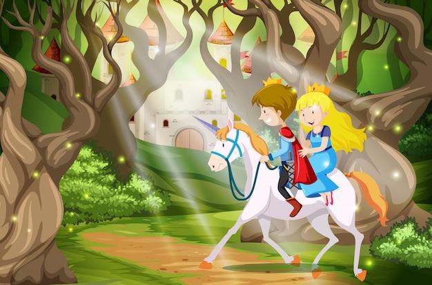 Prince and princess riding a unicorn scene