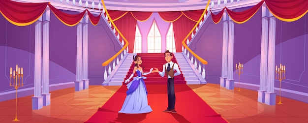 Prince and princess in royal castle hall