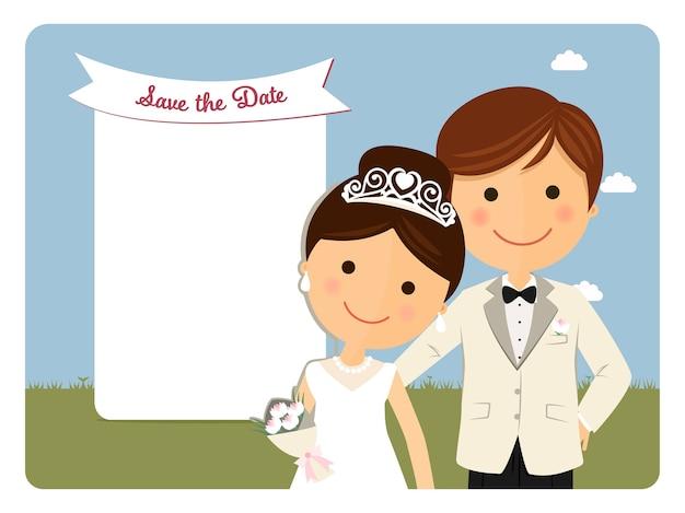 Княжеский стиль пара для приглашения на свадьбу на синем фоне