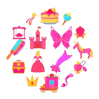 Princess accessories icons set, cartoon style