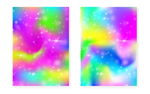 Princess background with kawaii rainbow gradient. magic unicorn hologram. holographic fairy set. stylish fantasy cover. princess background with sparkles and stars for cute girl party invitation.